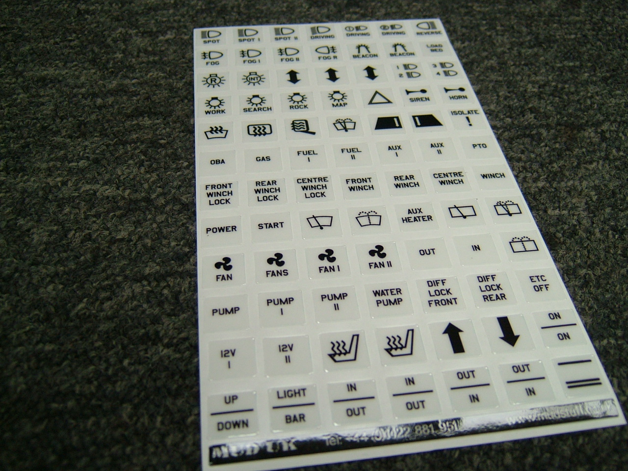 Legend Sheet for Carling Switches